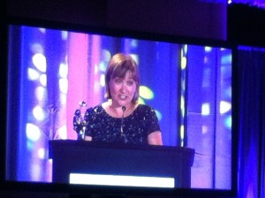 My RITA Award acceptance speech on the screen at 1:18.